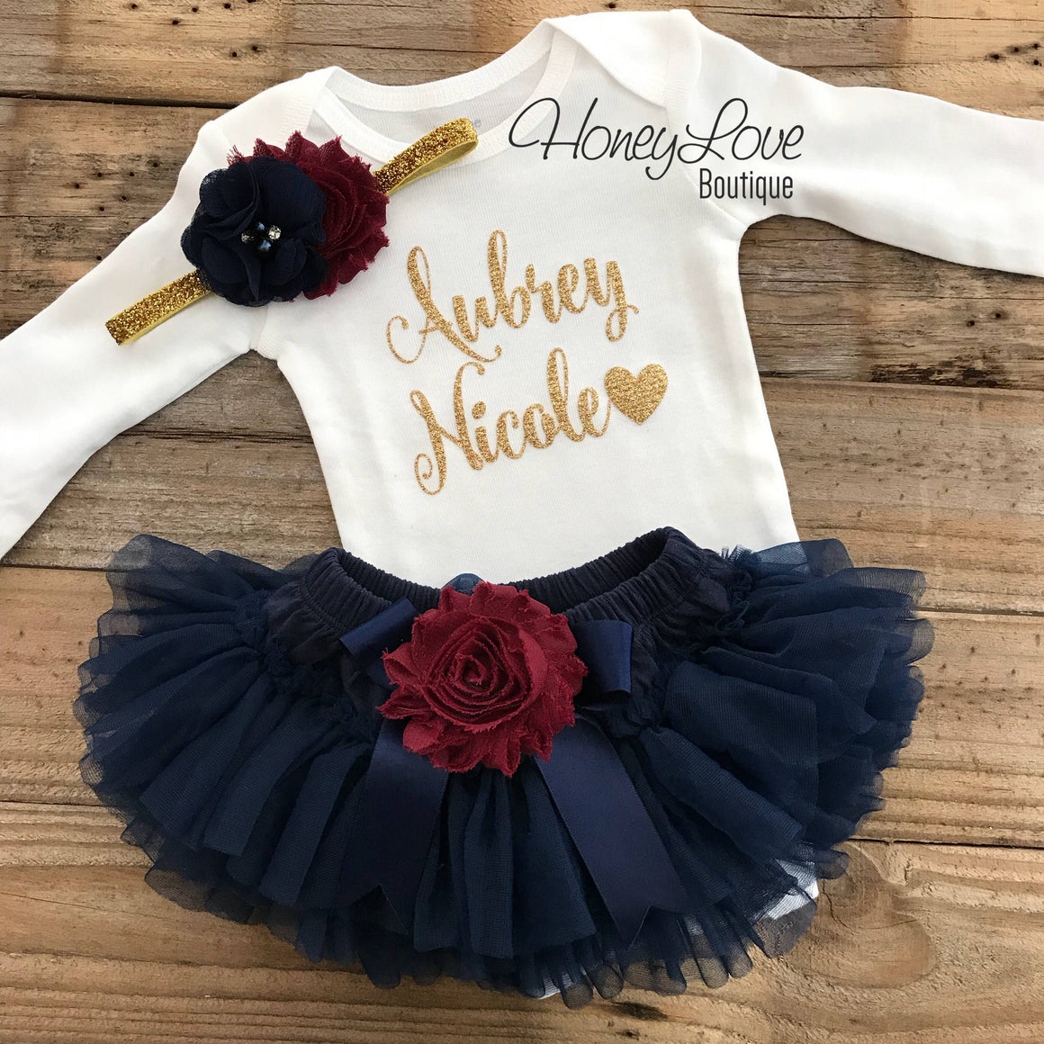 PERSONALIZED Navy Blue and Gold Glitter - Maroon/Burgundy flower embellished tutu skirt bloomers - HoneyLoveBoutique