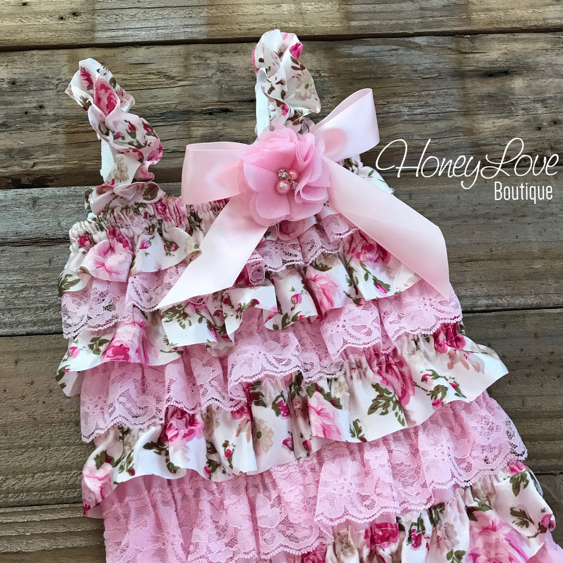 Floral Satin & Pink Lace Petti Romper with embellished rhinestone pearl flower bow, vintage floral inspired pettiromper, smash cake Birthday - HoneyLoveBoutique