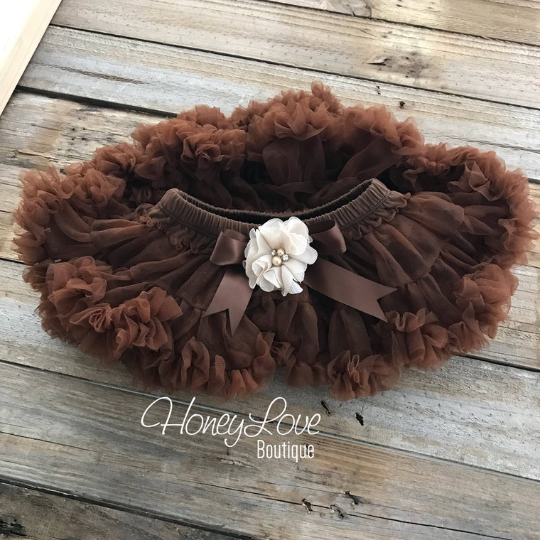 Brown Pettiskirt - embellished champagne flower