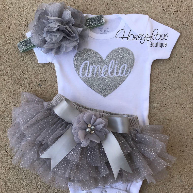 Personalized Name inside Heart - Gray and Silver Glitter - embellished tutu skirt bloomers - HoneyLoveBoutique