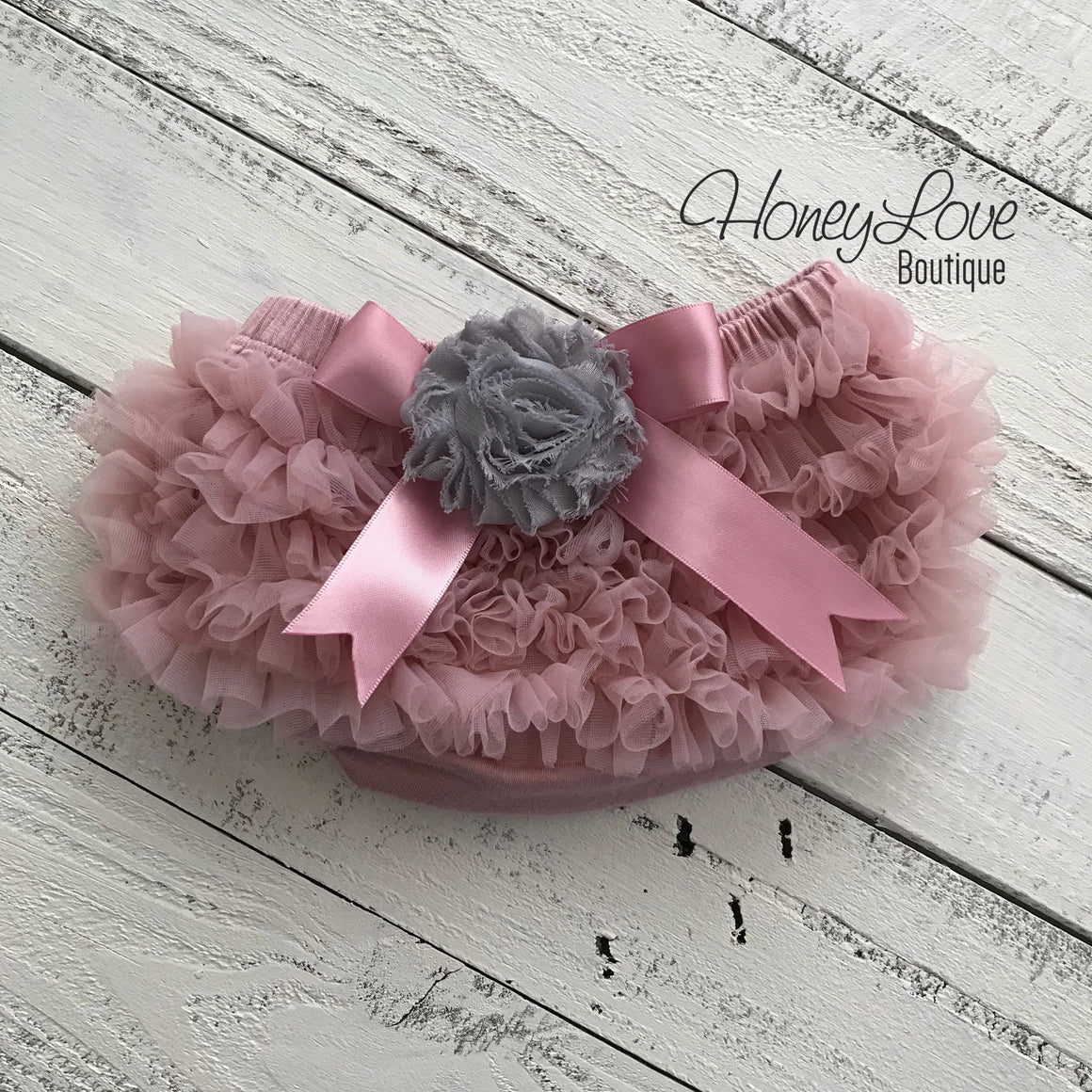 Vintage Pink ruffle bottom bloomers and pearl rhinestone flower headband - embellished gray flower - HoneyLoveBoutique