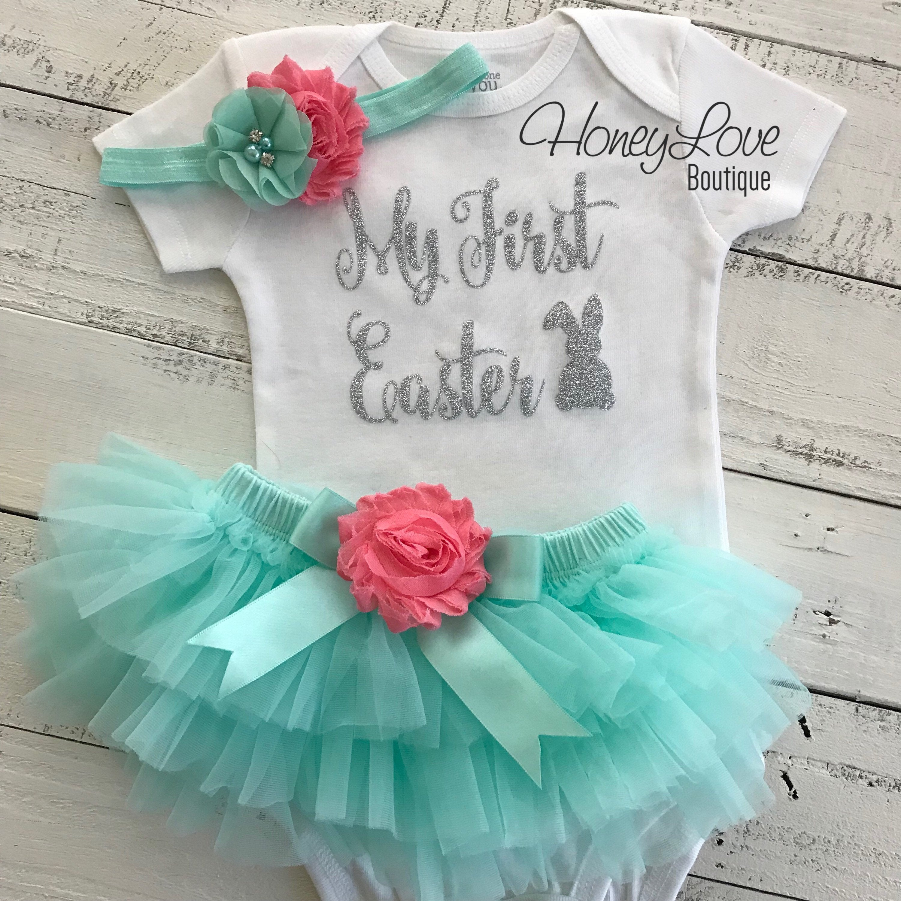 6a17d4d00bee My First Easter Outfit - Gold or Silver glitter - HoneyLoveBoutique