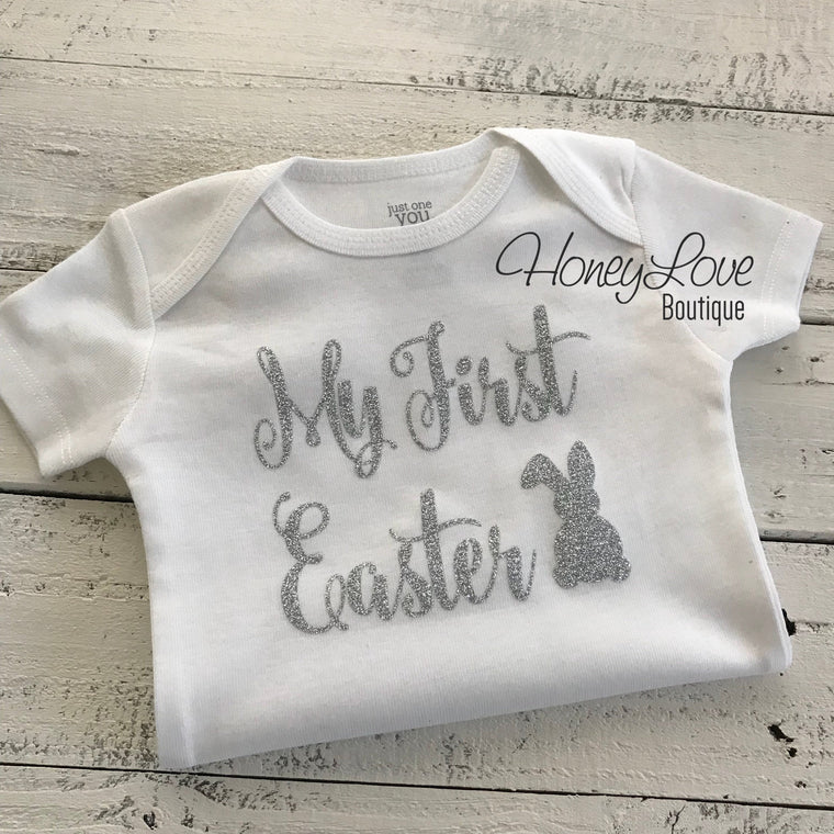 My First Easter bodysuit - Silver or Gold glitter - HoneyLoveBoutique