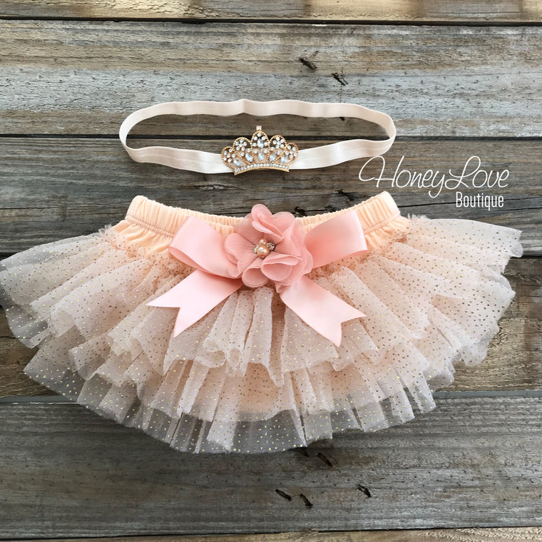 Peach and Gold glitter tutu skirt bloomers and tiara headband - embellished bloomers - HoneyLoveBoutique