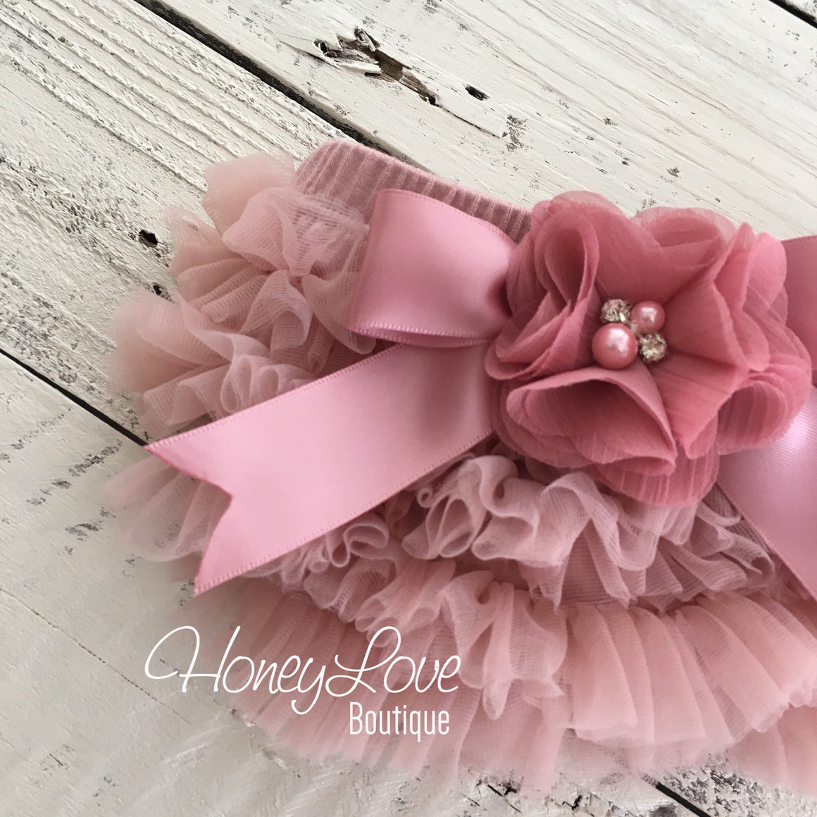 Vintage Pink ruffle bottom bloomers and headband - embellished bloomers - HoneyLoveBoutique