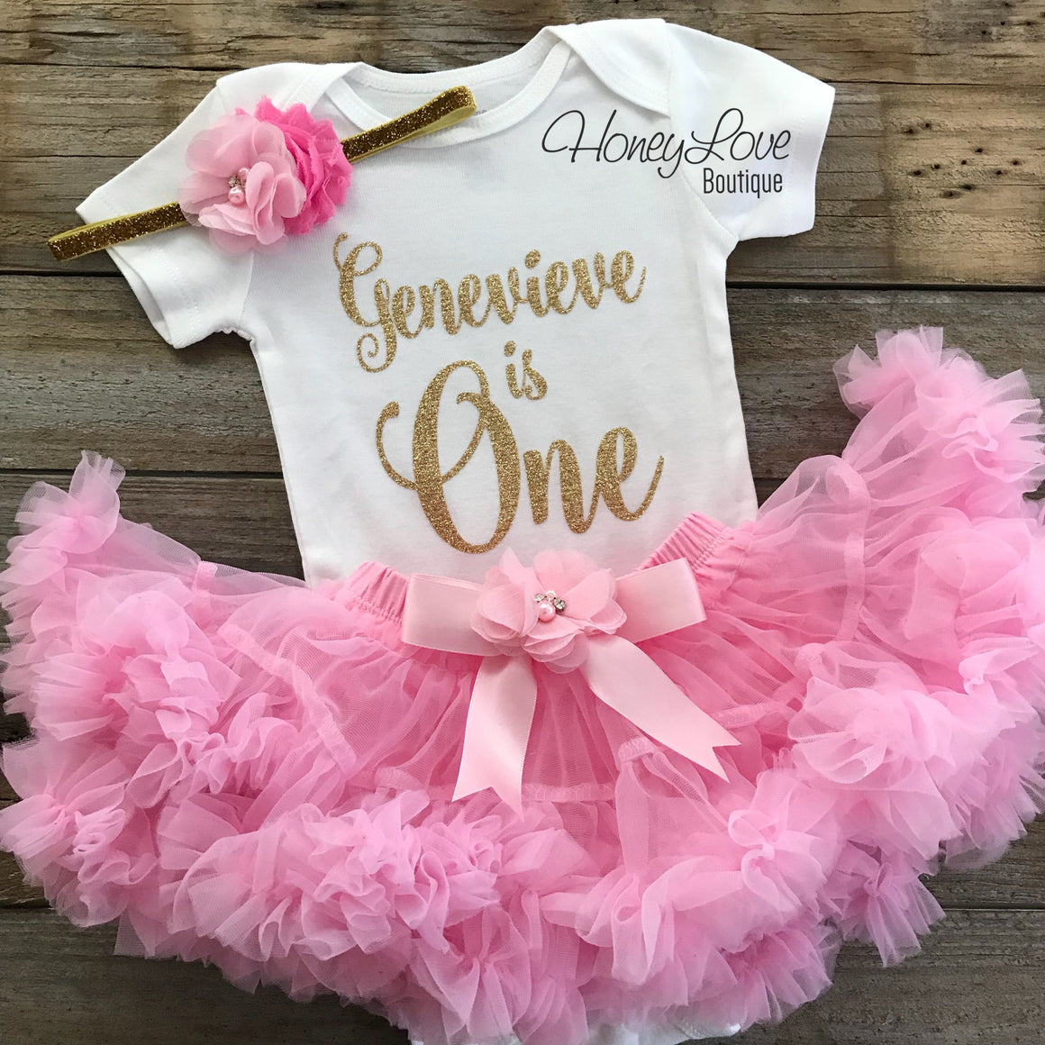 "Personalized Name ""is One"" - 1st Birthday Outfit - Light Pink and Silver/Gold Glitter - embellished pettiskirt - HoneyLoveBoutique"