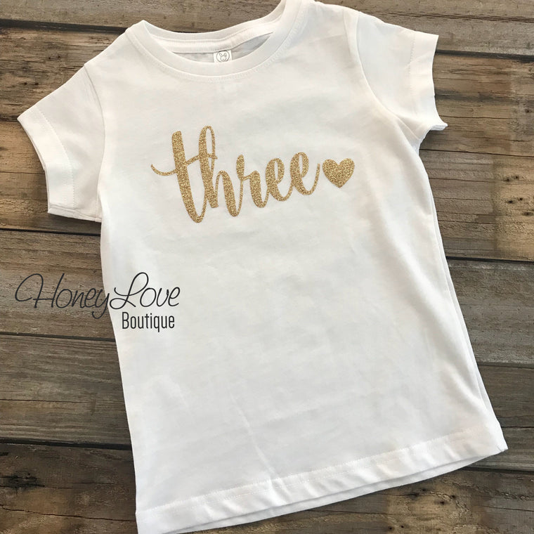 Gold Glitter Number shirt - one, two, three, four or five - HoneyLoveBoutique