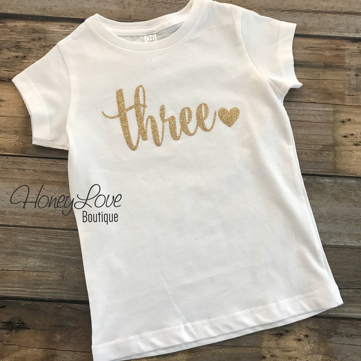 Three - gold glitter little girl shirt, 3rd Birthday Cake Smash baby girl infant toddler, sparkle glittery birthday one two three four five