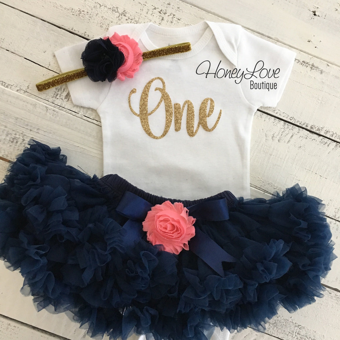 One - Birthday Outfit - Navy Blue, Coral and Gold/Silver glitter - HoneyLoveBoutique