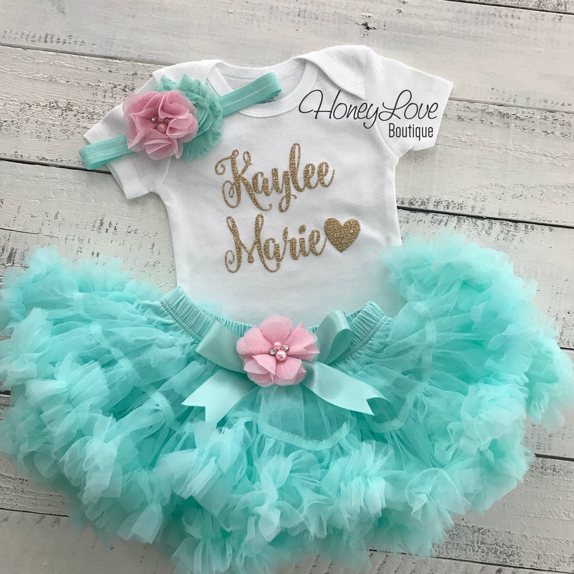 PERSONALIZED Name Outfit - Mint/Aqua and Gold Glitter - Light Pink flower embellished pettiskirt - HoneyLoveBoutique
