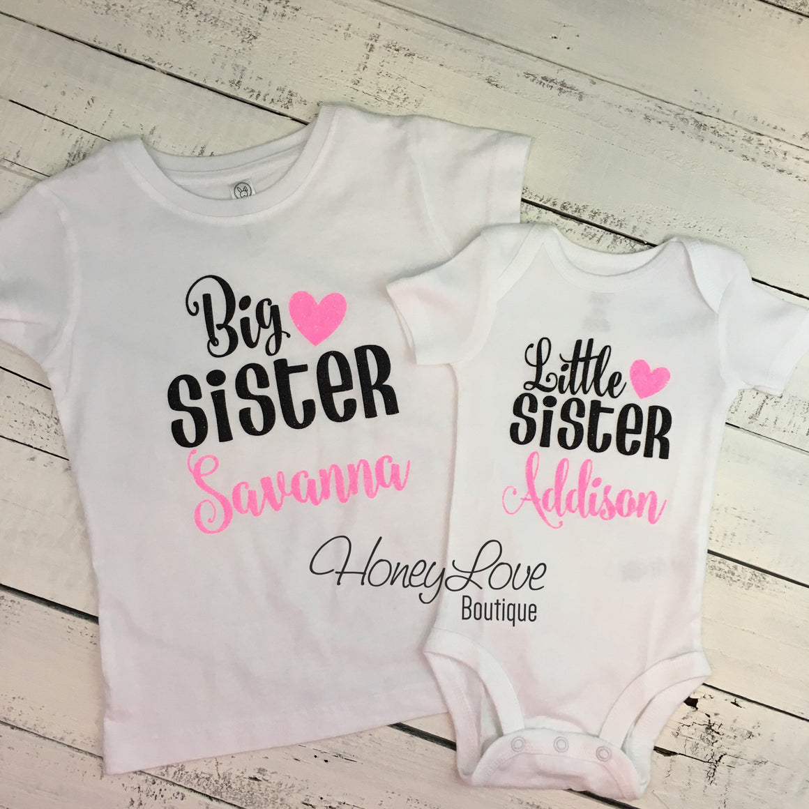 PERSONALIZED Sister Bodysuits and Shirts - Neon Pink Glitter and Black - HoneyLoveBoutique