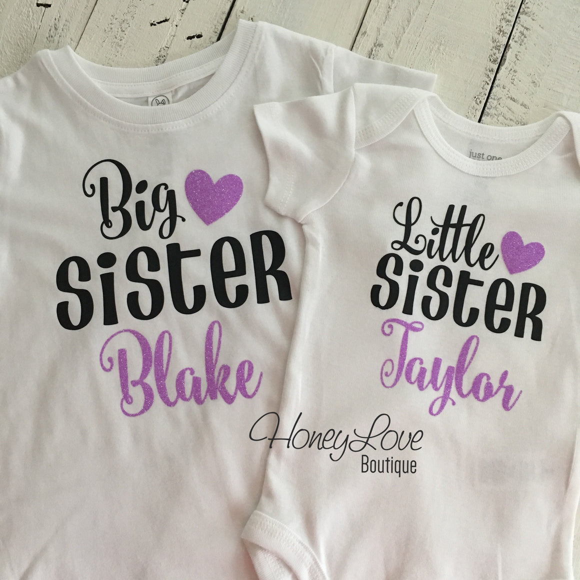 PERSONALIZED Sister Bodysuits and Shirts - Lavender Glitter and Black - HoneyLoveBoutique
