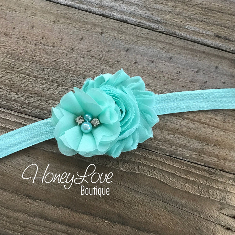 Mint/Aqua shabby chiffon flower headband - HoneyLoveBoutique