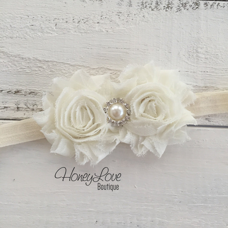 Ivory double flower headband - Pearl and Rhinestone center - HoneyLoveBoutique