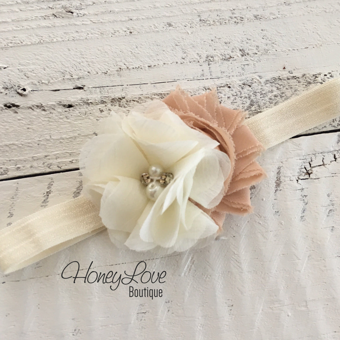 Ivory cream light brown shabby chiffon flower rhinestone pearl headband hair bow, newborn infant toddler little baby girl photo shoot prop - HoneyLoveBoutique