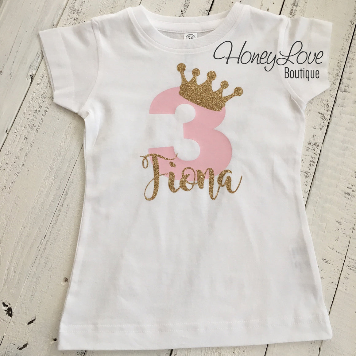 Personalized 3rd Birthday Princess T-shirt - Light Pink and Gold glitter - HoneyLoveBoutique