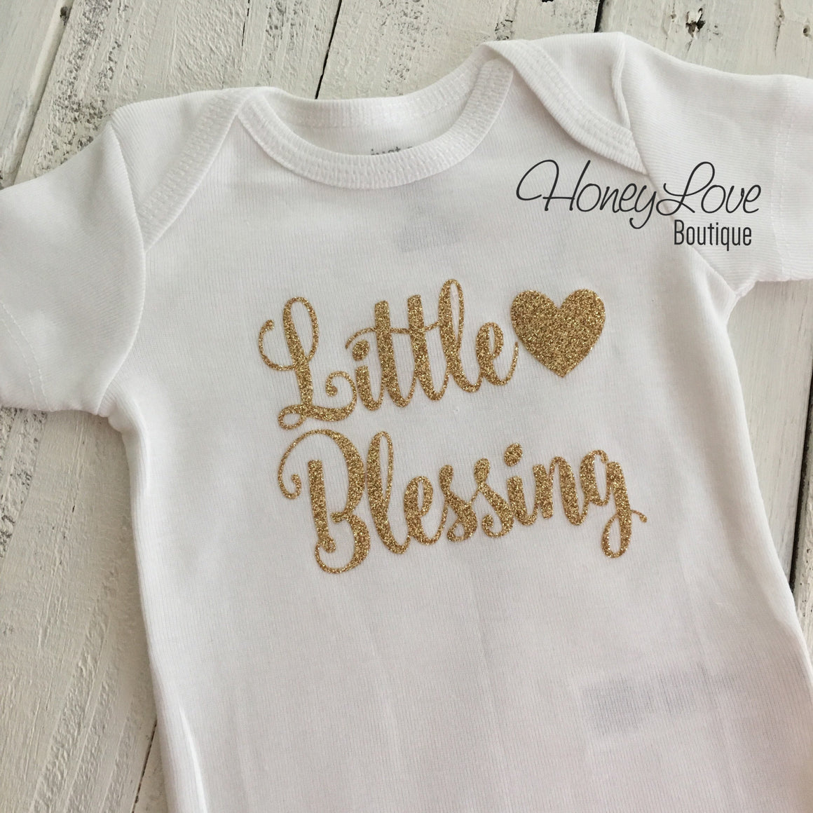 Little Blessing - Silver or Gold glitter bodysuit - HoneyLoveBoutique