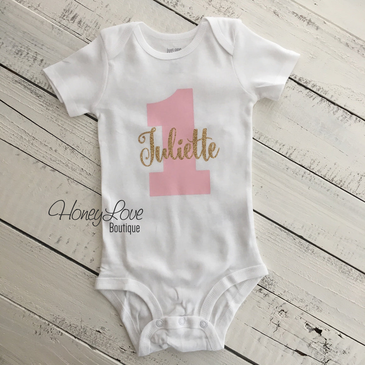 Personalized 1st Birthday Bodysuit - Light Pink and Gold/Silver glitter - HoneyLoveBoutique