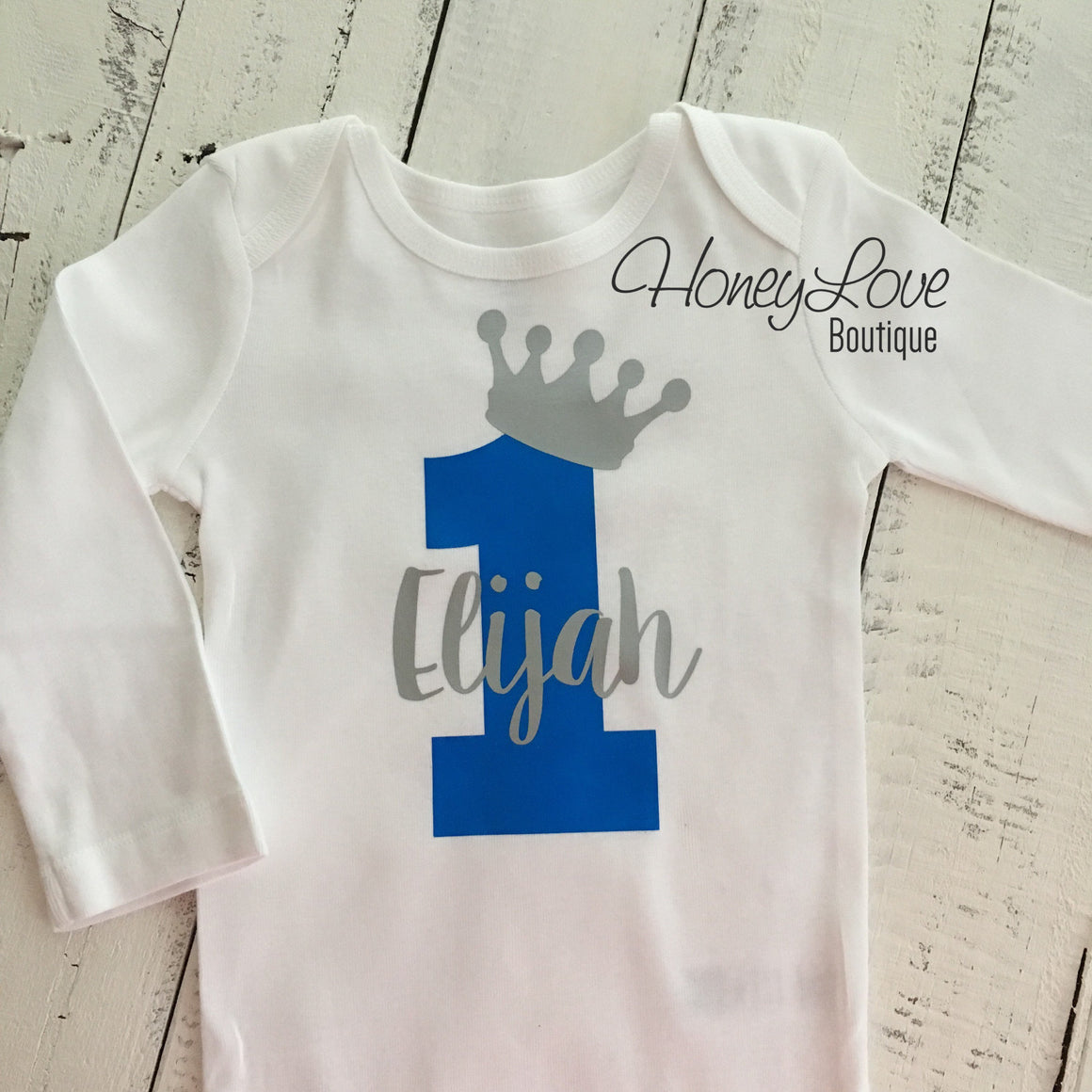 Personalized NAME - boy girl twin sibling birthday prince princess tiara crown number 1 one shirt bodysuit, First Birthday, 1st Cake Smash - HoneyLoveBoutique