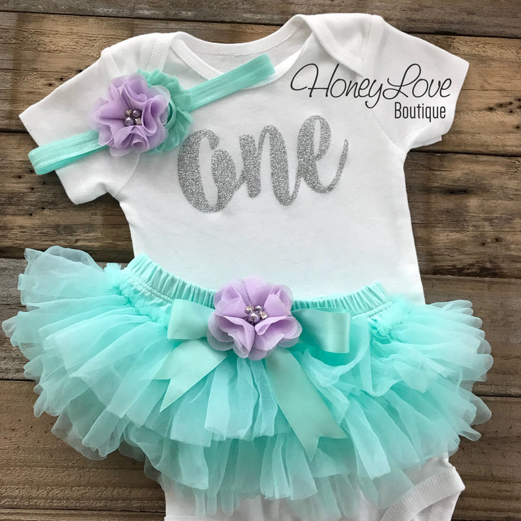 One - Birthday Outfit - Mint/Aqua, Lavender Purple and Silver/Gold glitter - embellished tutu skirt bloomers - HoneyLoveBoutique