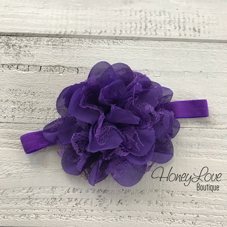 Dark Purple Lace and Chiffon Layered Flower headband - HoneyLoveBoutique