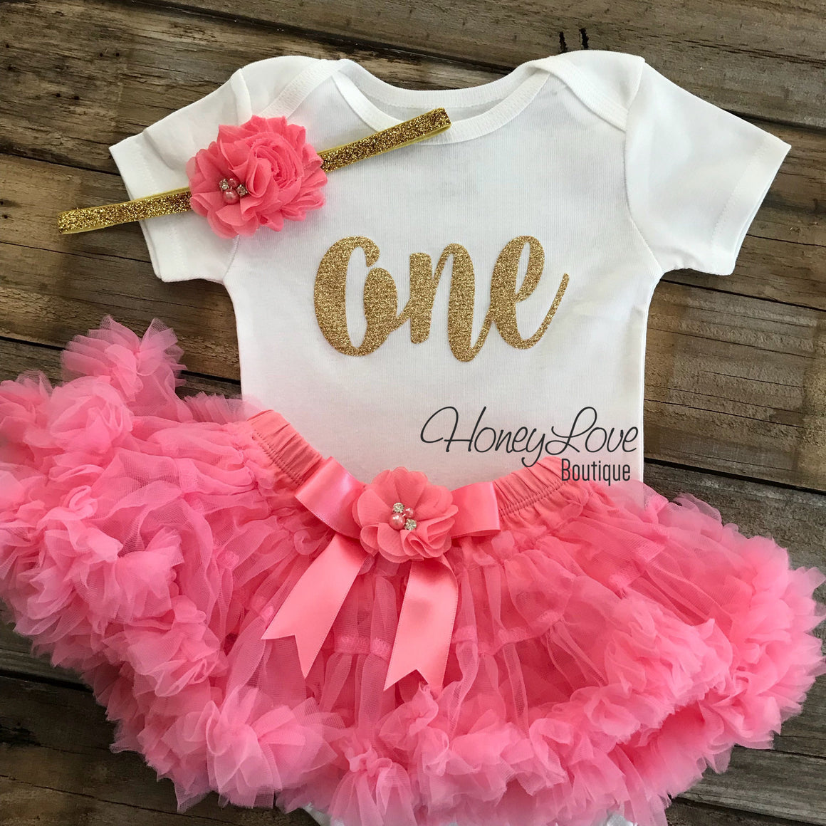 One - Birthday Outfit - Gold glitter and Coral Pink - embellished pettiskirt - HoneyLoveBoutique
