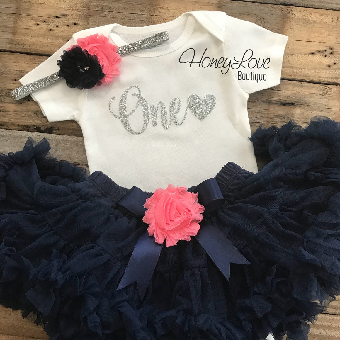 One with heart - Birthday Outfit - Navy Blue, Coral and Gold/Silver glitter - HoneyLoveBoutique