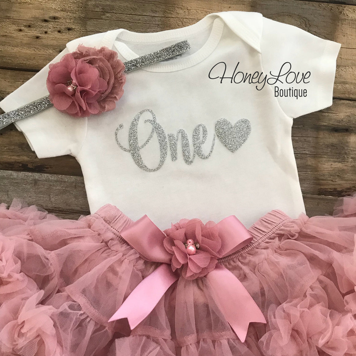 PRE-ORDER FOR MID MARCH - One with heart - Birthday Outfit - Vintage Pink and Silver/Gold Glitter - HoneyLoveBoutique