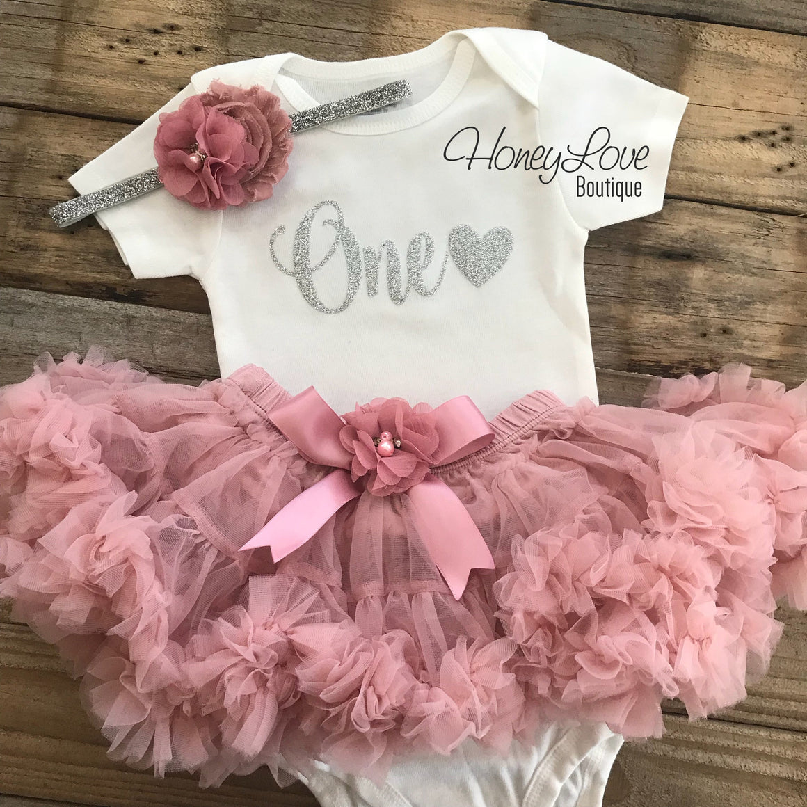 One with heart - Birthday Outfit - Vintage Pink and Silver/Gold Glitter - HoneyLoveBoutique