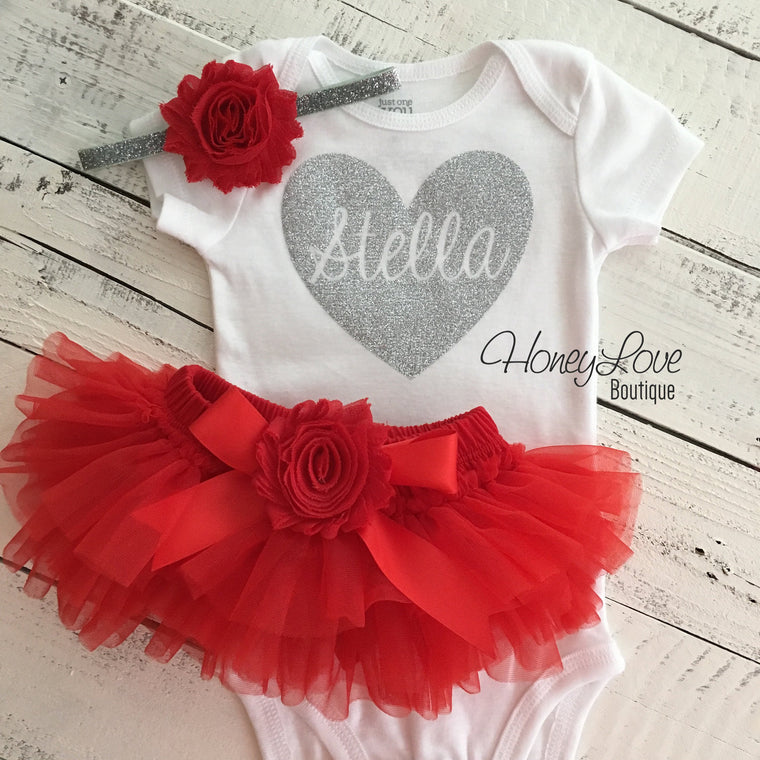 PERSONALIZED Name inside Heart - Gold/Silver Glitter and Red - HoneyLoveBoutique