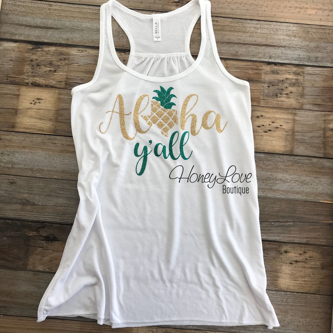 Aloha Y'all Texas Pineapple tank - HoneyLoveBoutique