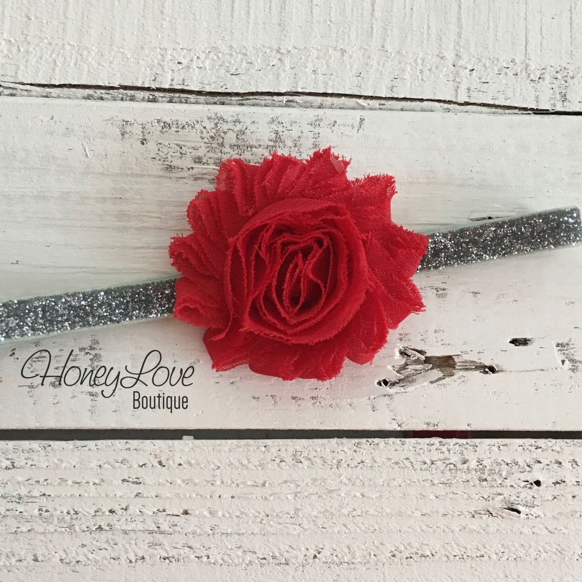 Red shabby flower headband - SILVER/GOLD glitter elastic - HoneyLoveBoutique