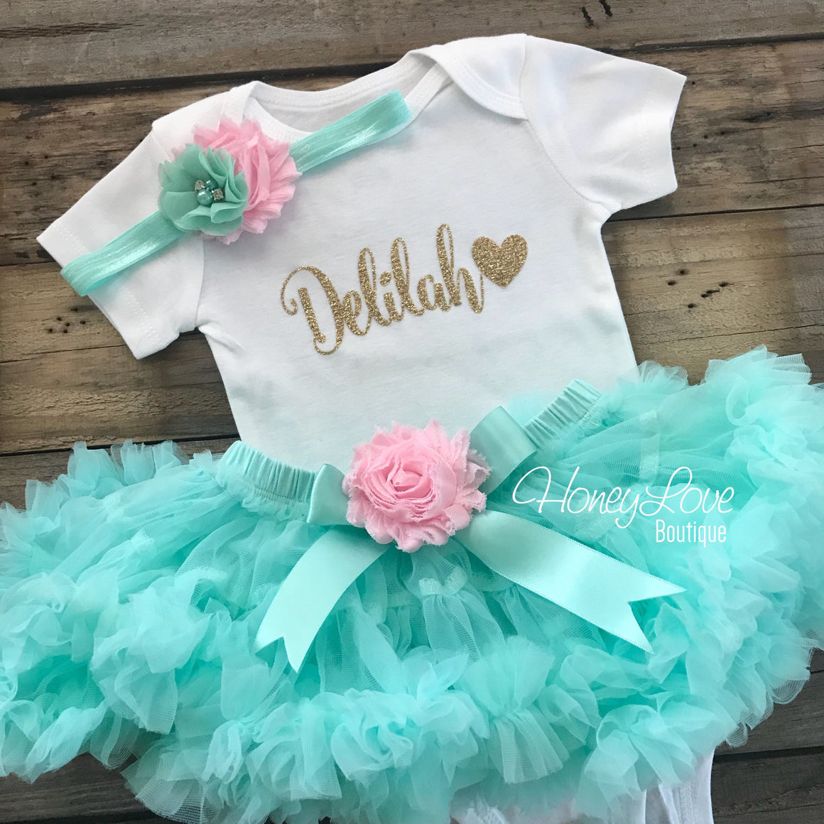 PERSONALIZED Mint/Aqua and Gold Glitter - Light Pink shabby flower embellished pettiskirt - HoneyLoveBoutique