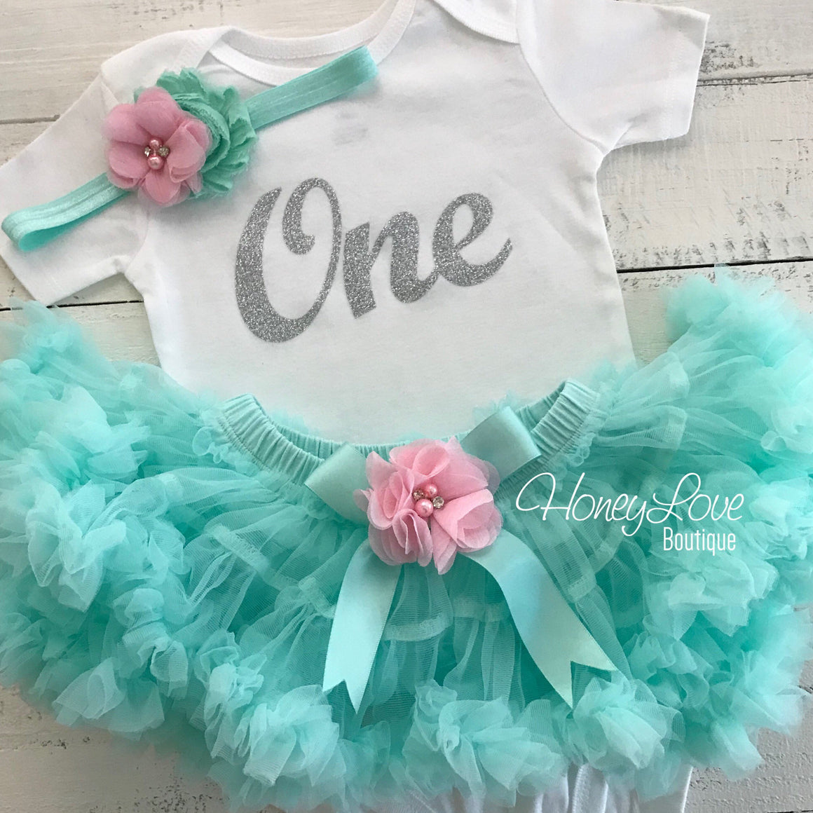 One - Birthday Outfit - Mint/Aqua, Light Pink and Silver/Gold glitter - embellished pettiskirt - HoneyLoveBoutique