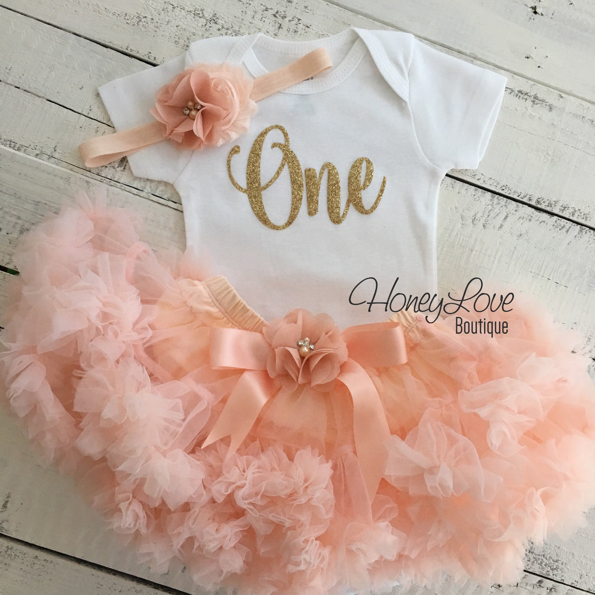 One - gold glitter bodysuit, embellished peach ruffle pettiskirt tutu skirt, flower rhinestone headband bow, First Birthday, 1st Cake Smash - HoneyLoveBoutique
