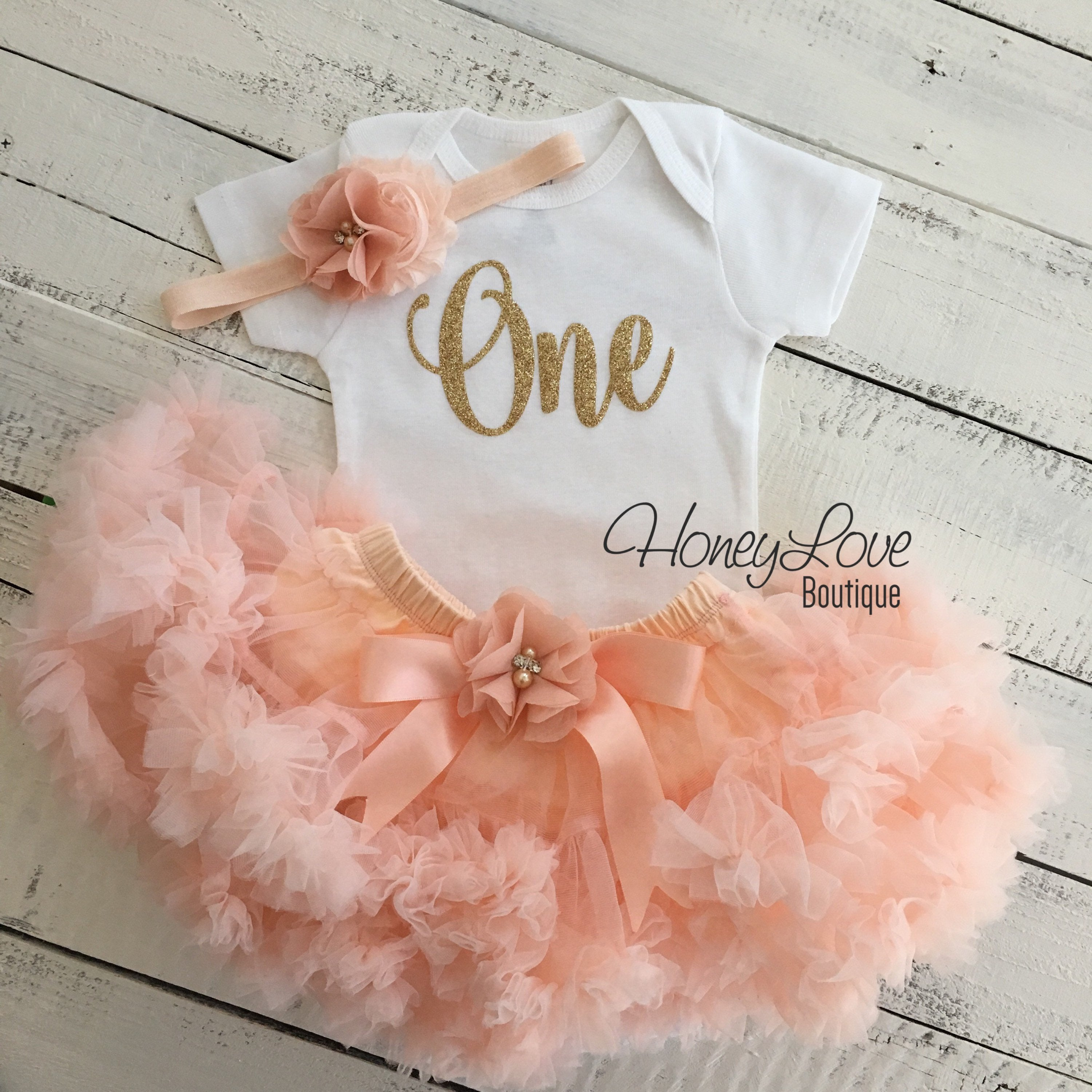 90d1a44a2c945 One - Birthday Outfit - Gold glitter and Peach - embellished pettiskirt