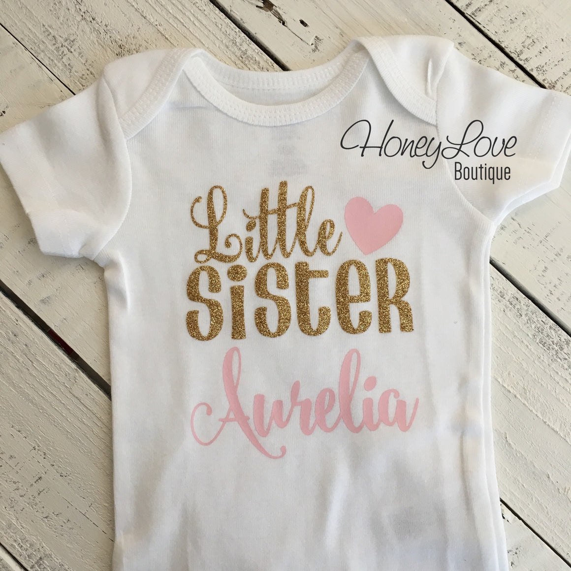 PERSONALIZED Sister Bodysuits and Shirts - Light Pink and Gold Glitter - HoneyLoveBoutique