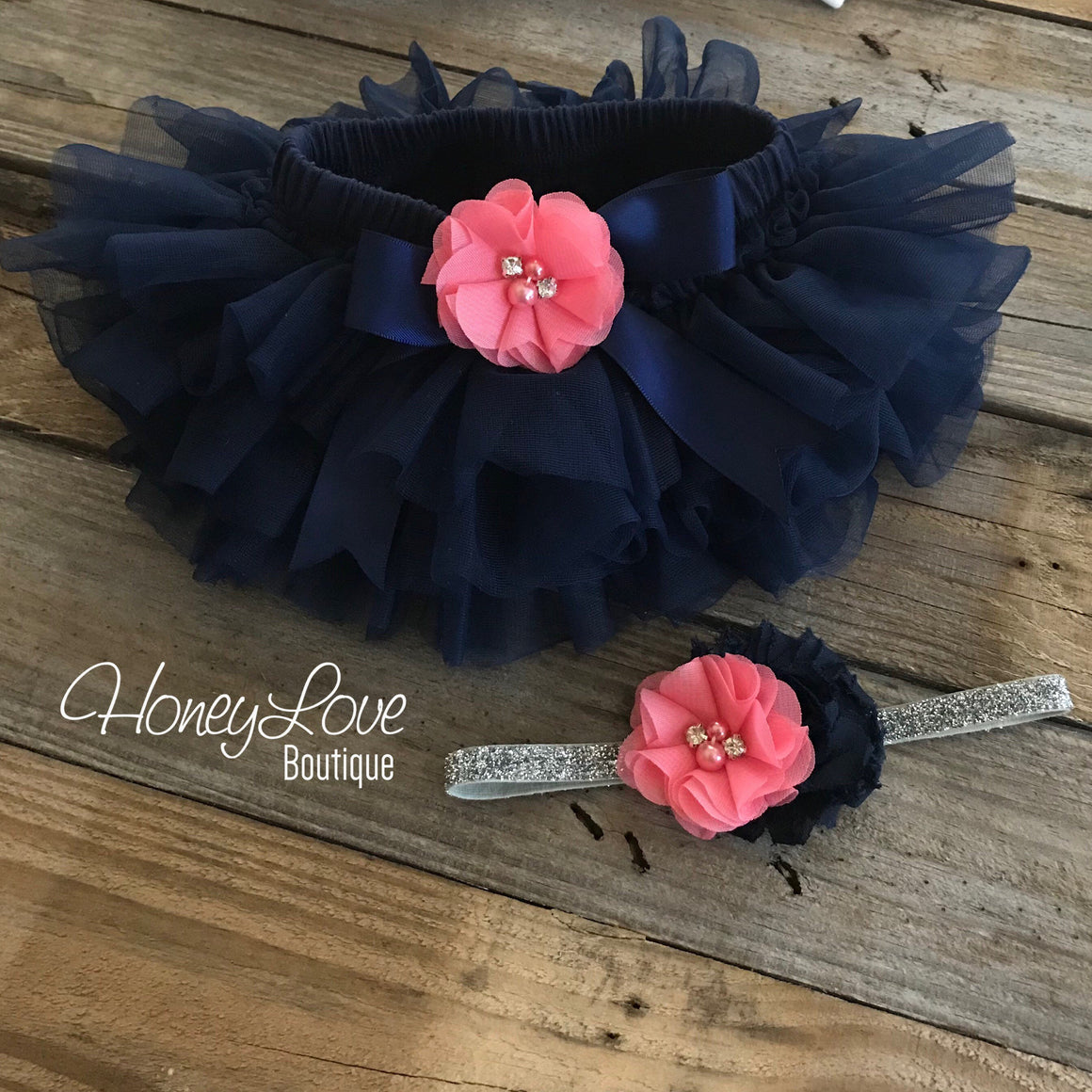 PERSONALIZED Name Outfit - Navy Blue and Silver Glitter - Coral Pink rhinestone/pearl flower embellished tutu skirt bloomers - HoneyLoveBoutique