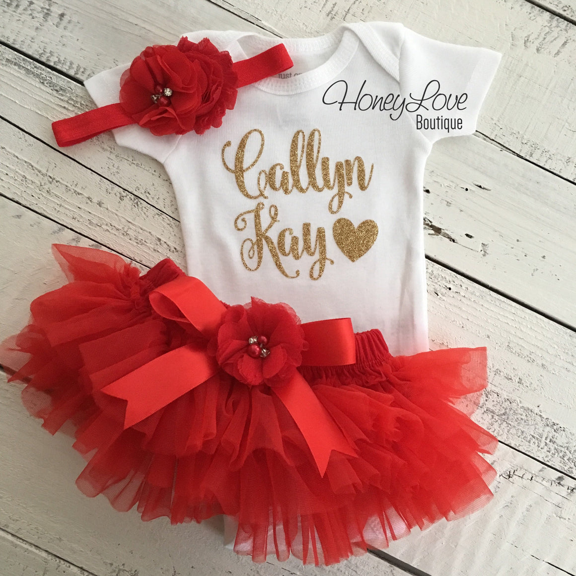 PERSONALIZED Name Outfit - Red and Gold Glitter - Red flower embellished tutu skirt bloomers - HoneyLoveBoutique