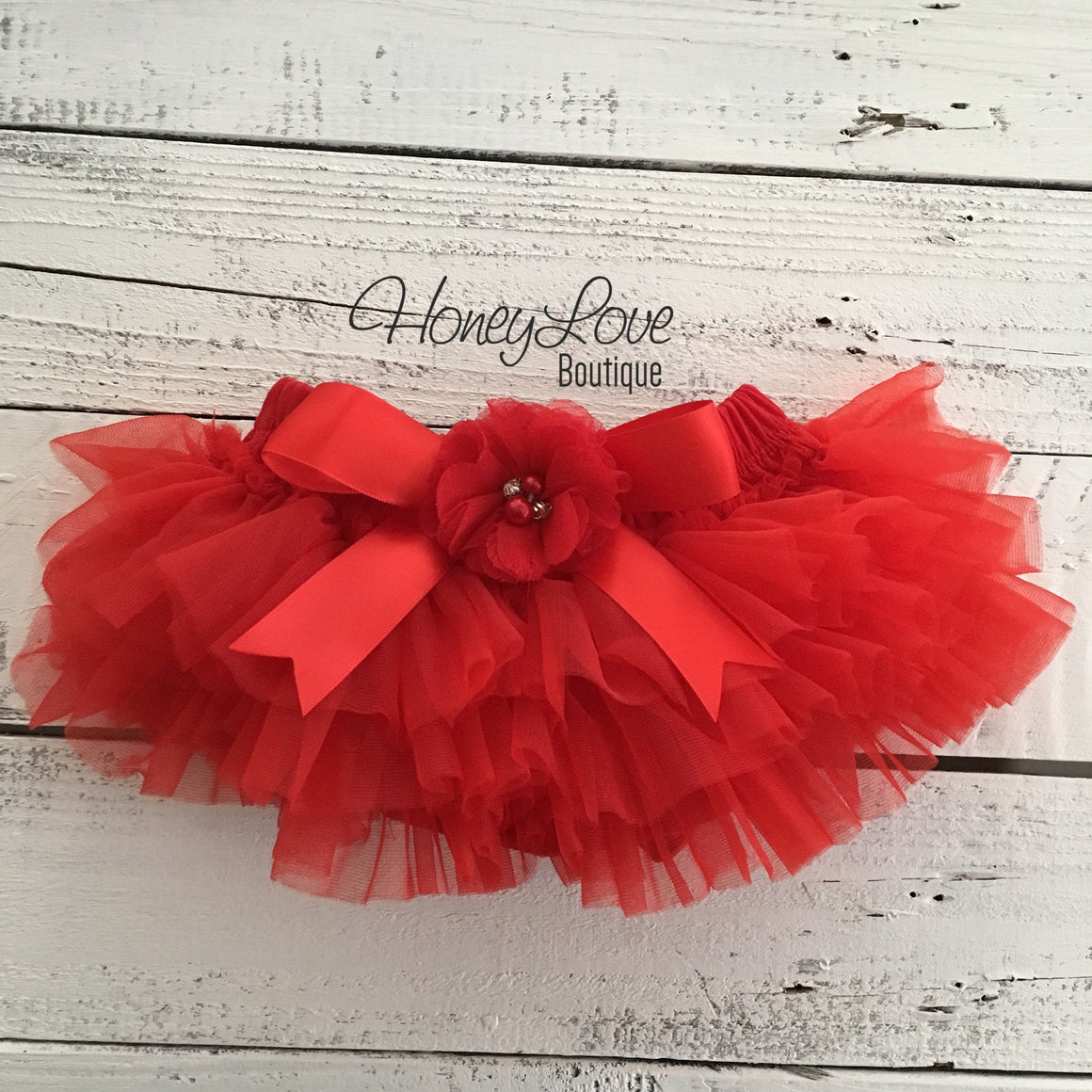 Red tutu skirt bloomers - embellished red rhinestone/pearl flower - HoneyLoveBoutique
