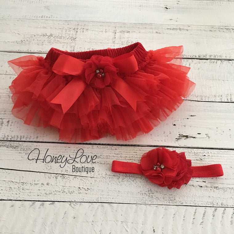 Red embellished tutu skirt bloomers and matching headband