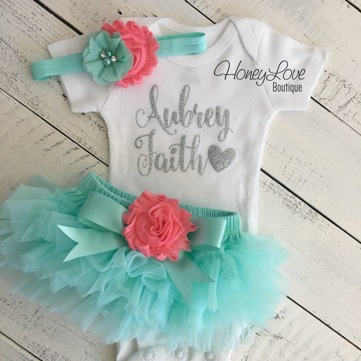 PERSONALIZED Name Outfit - Mint/Aqua and Silver Glitter - Coral flower embellished tutu skirt bloomers - HoneyLoveBoutique