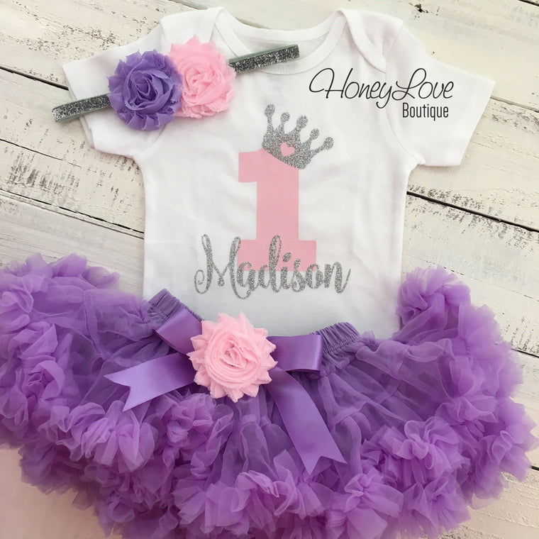 Personalized 1st Birthday Princess outfit - Lavender Purple, Light Pink and Silver/Gold glitter - HoneyLoveBoutique