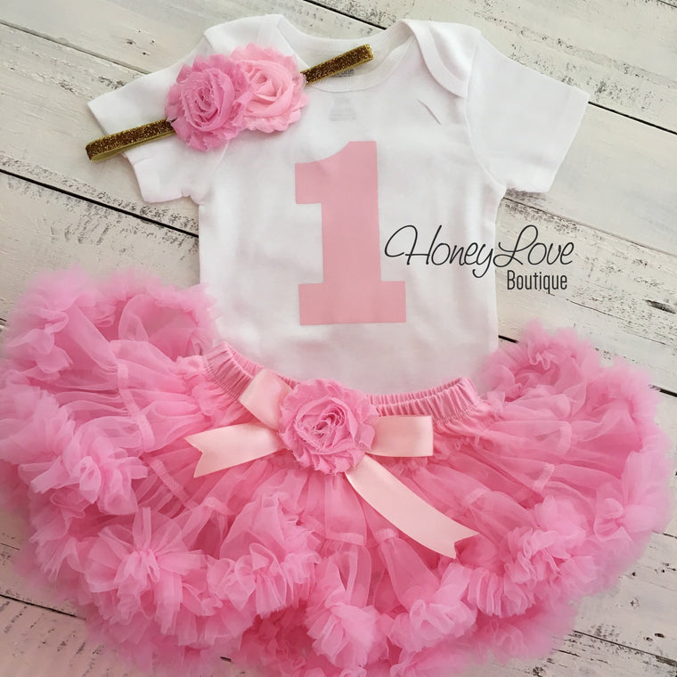 1st Birthday Outfit - Light Pink - HoneyLoveBoutique