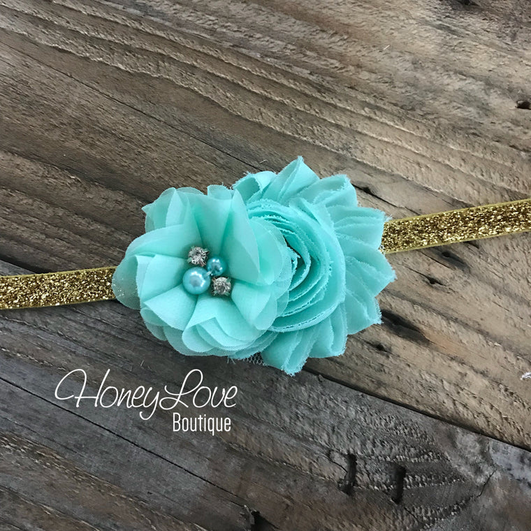 Mint/Aqua shabby chiffon flower headband - Gold glitter elastic - HoneyLoveBoutique