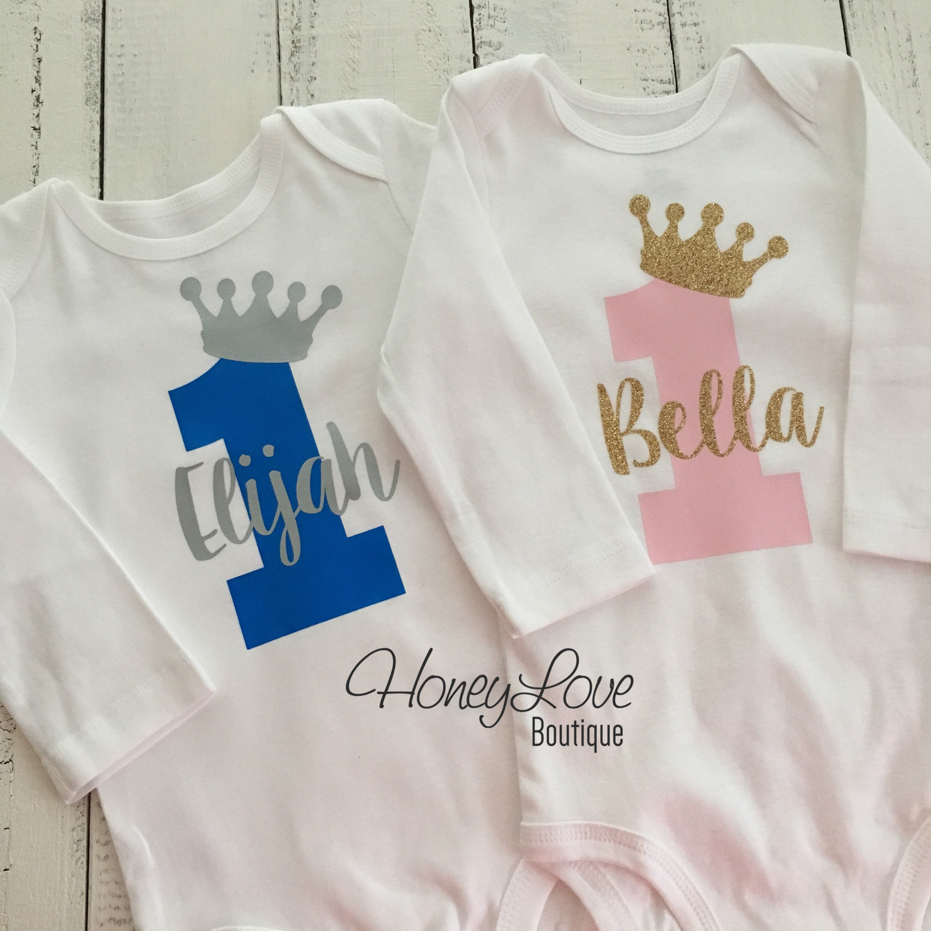 1789317eace5 Personalized First Birthday Prince/Princess Bodysuit - Boy/Girl Twins -  HoneyLoveBoutique