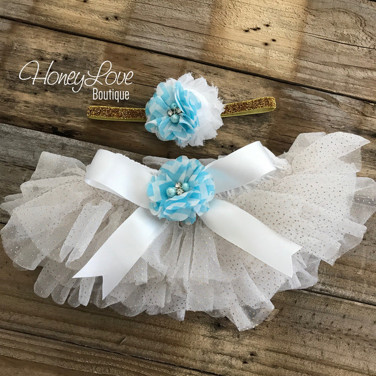 White with gold glitter tutu skirt bloomers and Blue Chevron Flower headband - embellished bloomers