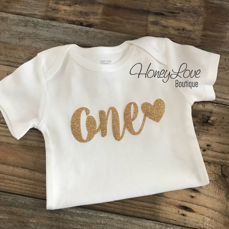 one with heart bodysuit - Gold or Silver glitter - HoneyLoveBoutique