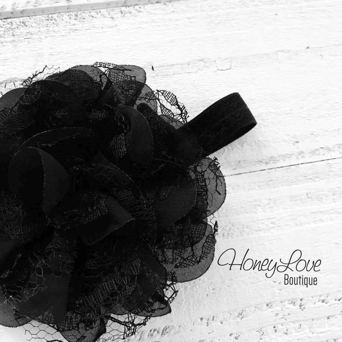 Black Lace and Chiffon Layered Flower headband - HoneyLoveBoutique