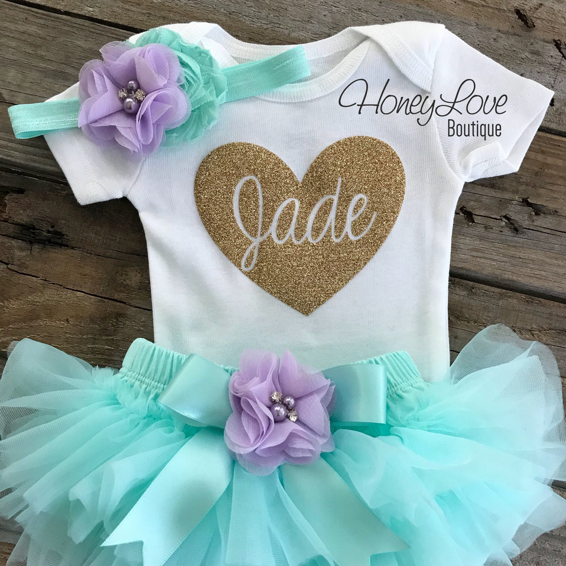 PERSONALIZED Name inside Heart - Gold Glitter, Mint/Aqua and Lavender Purple - HoneyLoveBoutique